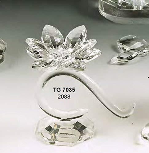 Oggettistica per bomboniere Candeliere portacandela curvo piccolo Fiore cristallo swarovski MADE IN