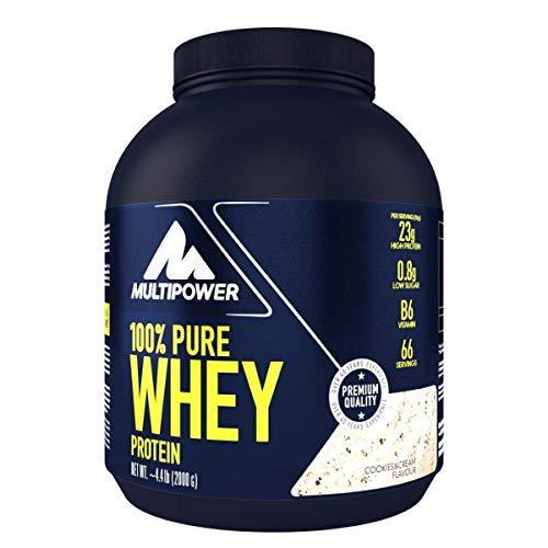 Multipower 100% Pure Whey Protein – wasserlösliches Proteinpulver mit Cookies & Cream Geschmack –  Eiweißpulver mit Whey Isolate als Hauptquelle – Vitamin B6 und hohem BCAA-Anteil – 2 kg