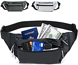 DONVITER Fanny Packs for Women Men, Fashion Fanny Pack for Girls with 3 Pouches Adjustable Belt, Waterproof Men Waist Bag, Casual Hip Bag Bum Bags for Travel Festival Hiking Running