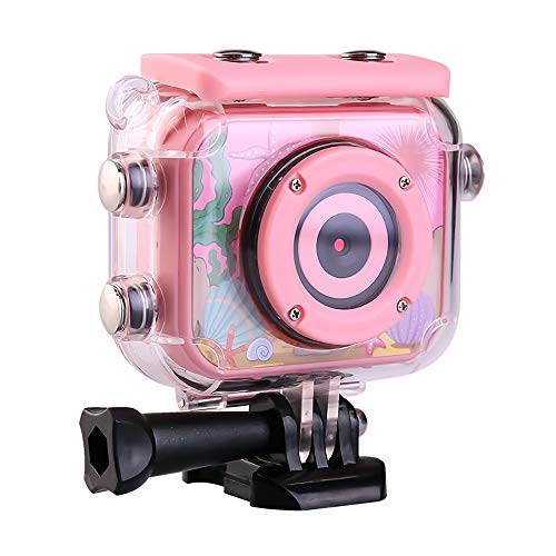 Water proof GoPro Digital Kids Camera toys, Underwater 1080P HD Camera Camcorder for Boys Girls, Vlogging cameras to Capture best Outdoor Moments 32GB SD Card, Christmas gifts for 3-12 year old - Pink