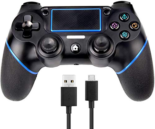 SADES PS4 Wireless Controller, C200 Gamepad DualShock 4 Console for Playstation 4 Touch Panel Joypad with Dual Vibration Game Remote Control Joystick with 3.5mm Jack, Include USB Cable