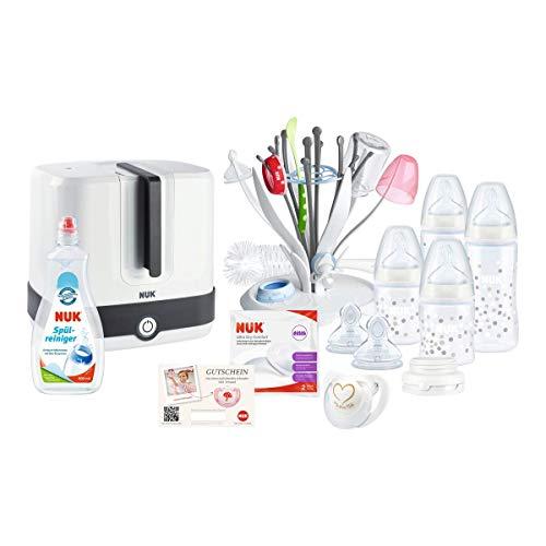 NUK Starter Set Hygiene, Erstausstattung mit Dampf-Sterilisator, Perfect Start Set, Trockenständer, Spülreiniger und Stilleinlagen, 0-6 Monate