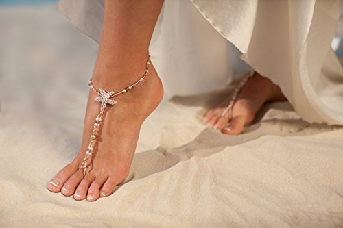 Rose gold barefoot sandals, Beach wedding foot jewelry, Beaded Bridal anklets, Starfish footless sandals, Bridal shoes, Wedding accessory