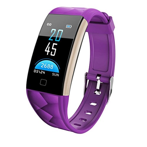 Fuibo Smartwatch, T20 Farbbildschirm Bluetooth Smart Watch Pulsmesser Smart Band Intelligente Armbanduhr Sport Fitness Tracker Armband (Lila)