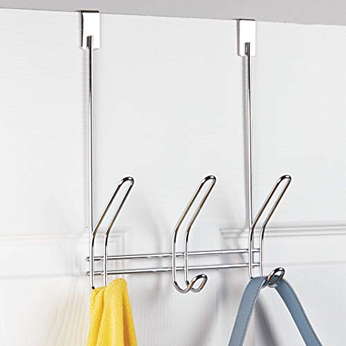 "iDesign Classico Metal Over the Door Organizer, 3-Hook Rack for Coats, Hats, Robes, Towels, Jackets, Purses, Bedroom, Closet, and Bathroom, 5"" x 8.2"" x 12.5"", Chrome"