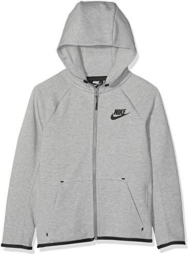 Nike Tech Fleece Full-Zip Essentials, Felpa Bambino, Dk Grey Heather/Black, S