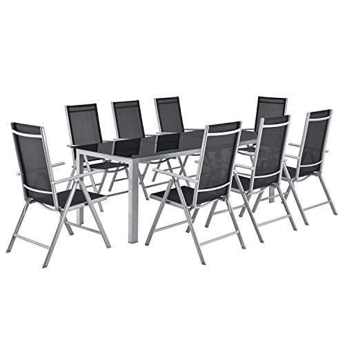 ArtLife Aluminium Gartengarnitur Milano | Gartenmöbel Set mit Tisch & 8 Stühlen | Silber-grau mit schwarzer Kunstfaser | Alu Sitzgruppe Terrassenmöbel