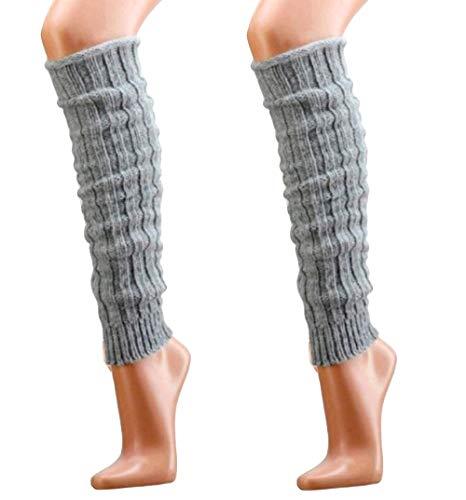 krautwear® Damen Mädchen 2 Paar Beinwärmer Stulpen Legwarmers Grobstrickstulpen mit Alpakawolle Alpaka Flauschig ca. 40cm 80er Schwarz Weiß Grau Beige (2x silber)