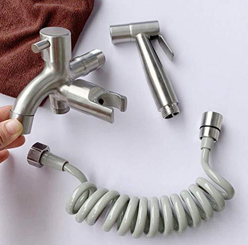 Kit de rociador para inodoro bidet - Bidet inodoro pistola acompañante acero inoxidable 304 rociador de bidet cepillado válvula de ángulo de doble cabezal doble control