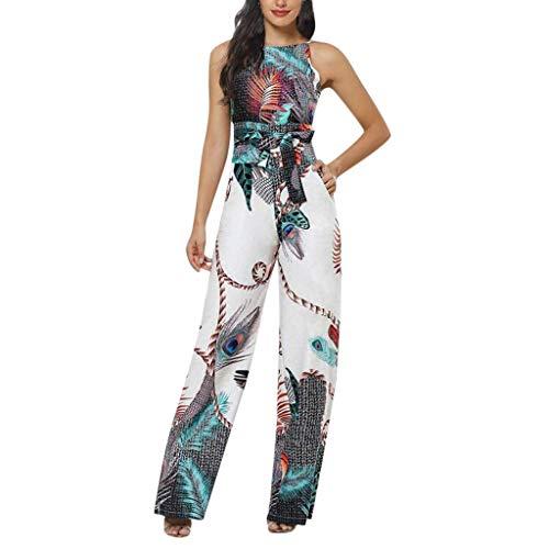 Monos Mujer 2020 Fiesta Verano Elegantes de Vestir Mujer Mono Largo Casual Tallas Grandes Correa Bolsillo Mujer Flor Impreso de Camisola sin Mangas Cintura Alta Jumpsuits