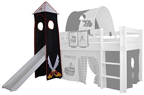 XXL Discount Turm-Vorhang 100% Baumwolle für Hochbett Spielbett Stockbett Kinderbett Kinderzimmer Spielturm mit Turmgestell (Schwarz/Weiß, Pirat)