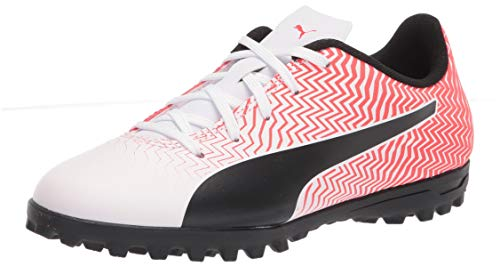 PUMA RAPIDO II TT JR Soccer Shoe, White Black-Red Blast, 3 US Unisex Big Kid