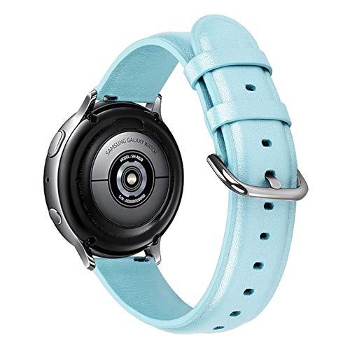 JAAIFC Banda De Reloj De Cuero Genuino De 20 Mm 22 Mm para Samsung Galaxy Watch 42mm 46mm Active 2 Gear S3 Strap Band Pulsera para Huawei Watch GT (Band Color : Blue, Band Width : 20mm)