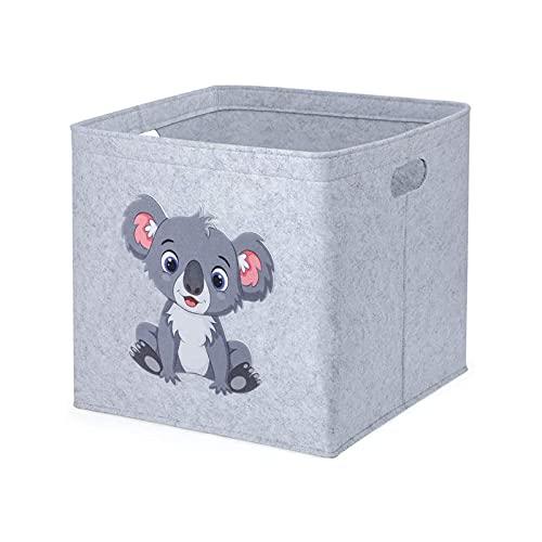 otutun Caja de Almacenamiento para Niños, 33x33x33cm Cesta de Fieltro Plegable Cesta de Almacenaje para Ropa Habitación Infantil Organizador de Juguetes para Armarios, Ropa, Juguetes y Mas(Coala)