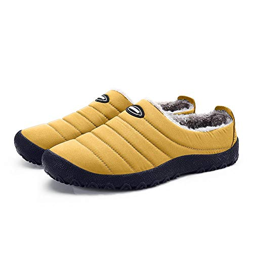 ASLISA Mens Womens Comfort Winter Indoor Outdoor Slippers with Anti-Slip Rubber Sole Fuzzy Plush Lining Slip On House Shoes Camel
