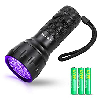 Waklyte Black Light, Mini UV Flashlight, 21 LED 395 nm Ultraviolet Blacklight Detector for Dog Urine, Pet Stains and Bed Bug (Battery Included) 22