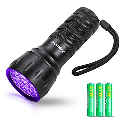 Waklyte Black Light, Mini UV Flashlight, 21 LED 395 nm Ultraviolet Blacklight Detector for Dog Urine, Pet Stains and Bed Bug (Battery Included) 1