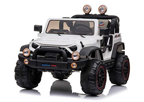 Mondial Toys Auto ELETTRICA 12V per Bambini 2 POSTI Maxi Fuoristrada con Telecomando 2.4G Soft Start AMMORTIZZATORI Full Optional MT-018 Bianco