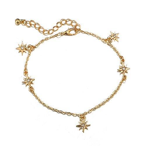 Multicouche Bracelet de cheville en forme de Étoile,Scintillant Bracelet de cheville Classique bracelet Mode Métal Chaîne de cheville Femmes romantique Décoration Cadeau (A)
