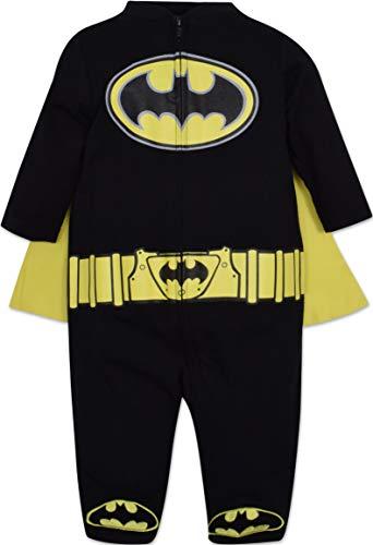 Warner Bros. DC Comics Mono de Batman con Capa Divertido Disfraz para Niño Pequeño Bebé - Negro 0-3 Meses