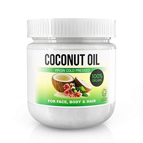 Bio-Kokosöl für Haut & Haar - 100% natives, kaltgepresstes Kokosnussöl für Gesicht & Körper; natürliche Feuchtigkeit für die Haut, Tiefenpflege für die Haare - Vegan - COSMOS ORGANIC - 500ml