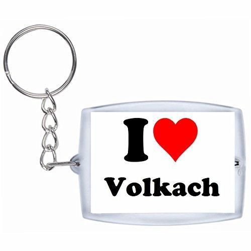 Druckerlebnis24 Schlüsselanhänger I Love Volkach in Weiss - Exclusiver Geschenktipp zu Weihnachten Jahrestag Geburtstag Lieblingsmensch