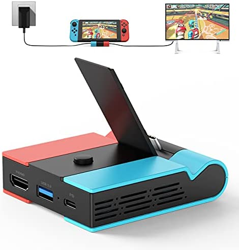 [2021 Upgraded Version] Charging Dock for Nintendo Switch, Knofarm Foldable TV Dock Charging Station with 4K HDMI Adapter and USB 3.0 Port, Support 45W Fast Charging, Portable Switch Dock Station