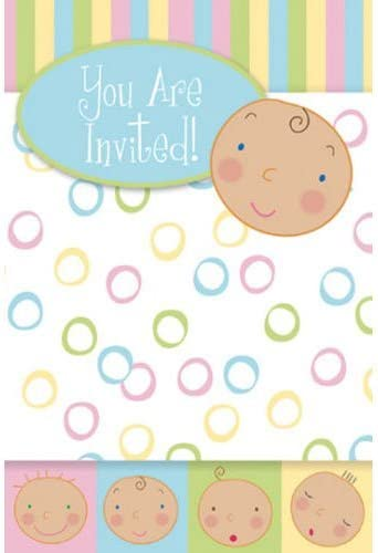 GlitterWrap Baby Faces Invites (8 ct)