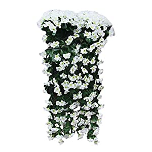 Juesi Hanging Flowers Artificial Violet Flower Wall Wisteria Basket Hanging Garland Vine Flowers Fake Silk Orchid (White)