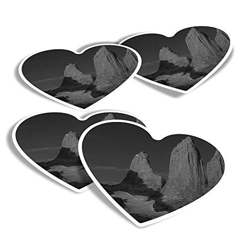 Adesivi in vinile a forma di cuore, confezione da 4 pezzi, BW – Torri Patagonia Sunrise Chile Fun Decalcomanie per computer portatili, tablet, bagagli, libri di rottami, frigoriferi #35693