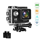 Action Camera 4K 16MP Underwater Waterproof Camera 170° Wide Angle WiFi Sports Cam with 2 Batteries and Mounting Accessories Kit …