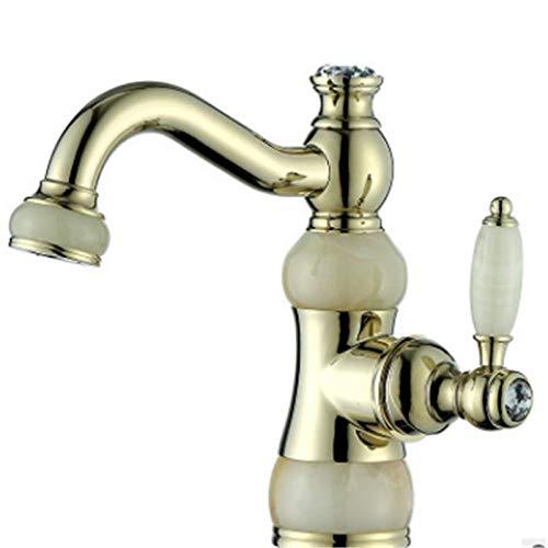 Robinet antique européen de trou monotrou plaqué or de diamant assis évier de robinet de lavabo simple poignée élégante