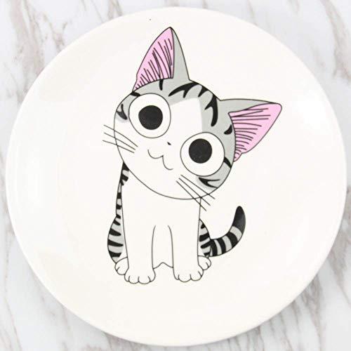 DJY-JY Creative Western Plate Sweet Private Cat Niños Vajilla de dibujos animados plato de desayuno plato de 20 cm