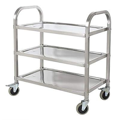 BestValue GO Stainless Steel 3-Tier Kitchen Trolley Kitchen Cart from BestValue GO