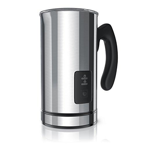 Arendo - Espumador de leche automático | Batidor de leche/Milk Frother | 2 botones para espumar leche caliente y fría | 500W | Estación base giratoria 360 ° | Acero inoxidable brillante