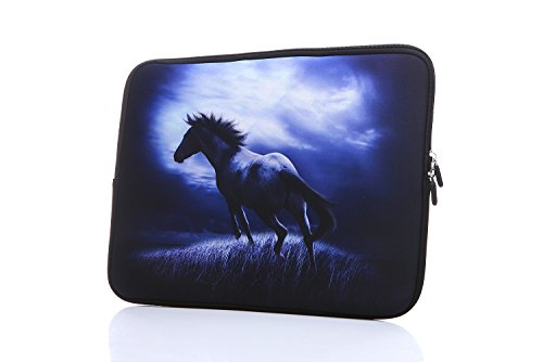 13.3-Inch to 14-Inch Laptop Sleeve Case Neoprene Carrying Bag with Hidden Handles for MacBook/Notebook/Ultrabook/Chromebooks (Blue Horse)