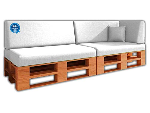 Pack Ahorro Conjunto 6 Cojines para Sofa de palets / europalet 2 Asientos + 2 Respaldos + Rinconera + Cojin | Desenfundable | Interior y Exterior | Color Blanco Nautico | 100% Impermeable