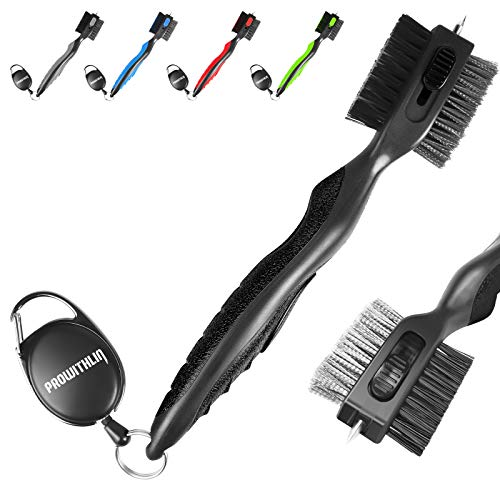 Golf Club Brush and Golf Club Groove Cleaner 2 in 1 2ft Retractable Zip line Metal Buckle and Retractable Sharp Pick Multifunctional Brush Head with Nylon and Wire Bristles Upgraded Version
