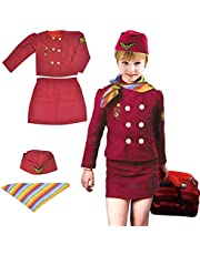 Yalla Baby Girls Costume Cabin Crew Air Hostess Costume for Kids Girls Pretend Dress up Role Play 4pcs Set (3-8 Years, 80-110cm)(0996)