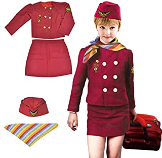Yalla Baby Girls Costume Cabin Crew Air Hostess Costume for Kids Girls Pretend Dress up Role Play 4pcs Set (3-8 Years, 80-...