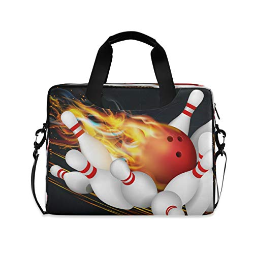 HMZXZ Laptoptasche Sport Ball Rot Bowling Fire Laptop Hüllen Tasche für 13 14 15,6 Zoll Computer Tablet Aktentaschen Tragetasche Schultertasche für Schule Arbeit