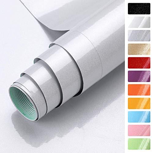 KINLO grau glanz Möbelfolie 5x0.61M PVC Klebefolie Küchenschrank Aufkleber Selbstklebend Küchenfolie Deko Plotterfolie