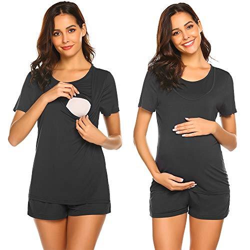 Unibelle Stillpijama ciążowa piżama karmienia piersią koszulka i spodnie krótkie lato S-XXL