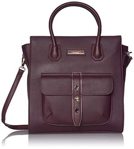 Nikky - Bolsa de bolsillo con cierre de giro, color rojo, Bolsa de mano con cierre frontal con diseño de bolsillo rojo, espacioso interior forrado, Vino, Una talla