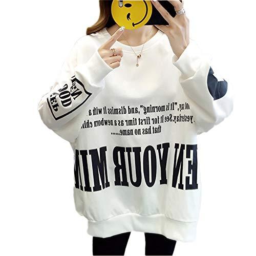 Moda Sudaderas Jersey Sweater Sudaderas con Capucha Mujer Simple Carta Impresa Casual Sudaderas De Gran Tamaño O Cuello Sudaderas Sueltas para Mujer M 01