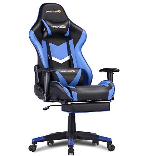 WENSIX Sedia Gaming Massaggio Poltrona Ergonomico Sedia da Ufficio,con Poggiapiedi a Scomparsa,Braccioli e Schienale Regolabili. (Blue-2)