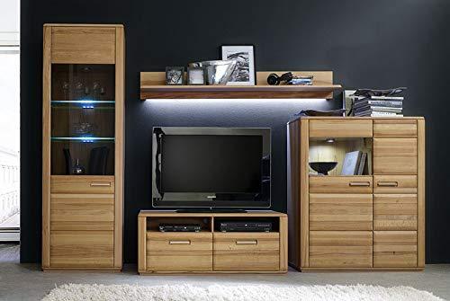 Wohnkombination Anabell Kernbuche 319x209x51cm Wohnzimmerset Wohnwand Wohnzimmerschrank Anbauwand Schrankwand Wohnmöbel optionale Beleuchtung Ausführung mit Beleuchtung