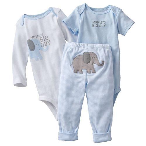 Carter's Baby - Tutina a maniche lunghe, 3 pezzi, taglia 44, motivo: elefante