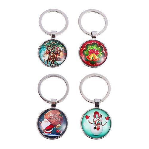 Cabilock 4 peças chaveiros de Natal com redoma de vidro com Papai Noel boneco de neve rena Natal bolsa de Natal para lembrancinhas de festa de Natal e sacos de presente