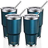 4 Pack 30oz Vacuum Insulated Tumblers, Bastwe Double Wall Stainless Steel Travel Tumblers with Lids and Straws for Home, Office, School, Works Great for Ice Drink, Hot Beverage ( Blue Green )